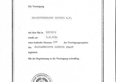 Gründungsurkunde des Stadtjugendring Leipzig e.V. vom 3.9.1990. Gestempelt, gezeichnet und registriert vom Kreisgericht Leipzig Stadt.