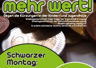 Plakat zum Aufruf der Kundgebung gegen die Kürzungen der Kinder- und Jugendhilfe in Sachsen am 08.03.2010.
